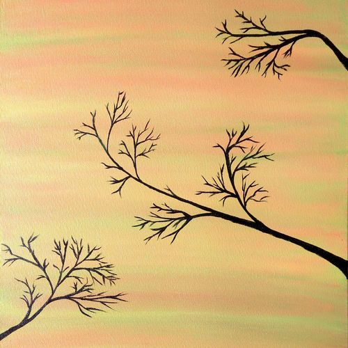 branches talking to each other, 16 x 20 inch, shibani mehta,nature paintings,paintings for living room,paintings,canvas,acrylic color,16x20inch,GAL012133172Nature,environment,Beauty,scenery,greenery,trees,branches,beautiful