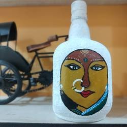 indian lady on bottle , 5 x 10 inch, pooja lokhande,5x10inch,acrylic glass,sculptures,vases,acrylic color,GAL0420531723