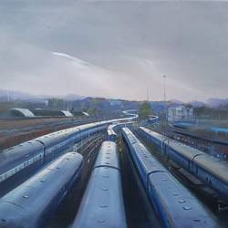 train trail, 30 x 24 inch, bijay  biswaal,landscape paintings,paintings for living room,canvas,acrylic color,30x24inch,GAL011743173