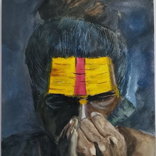 aghori sadhu, 6 x 8 inch, devinder kumar,6x8inch,brustro watercolor paper,religious paintings,portraiture,street art,paintings for living room,paintings for hotel,paintings for living room,paintings for hotel,watercolor,GAL01748931730