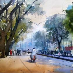 nagpur road, 19 x 14 inch, bijay  biswaal,cityscape paintings,nature paintings,paintings for living room,paper,watercolor,19x14inch,GAL011743174Nature,environment,Beauty,scenery,greenery,trees,people,beautiful