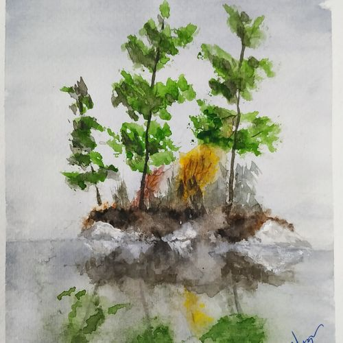 small island, 6 x 8 inch, devinder kumar,6x8inch,brustro watercolor paper,landscape paintings,paintings for living room,paintings for living room,watercolor,GAL01748931748