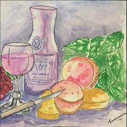 wine and dine, 11 x 8 inch, sreevarsha prakhash ,11x8inch,ivory sheet,still life paintings,paintings for dining room,paintings for dining room,poster color,paper,GAL01756431757