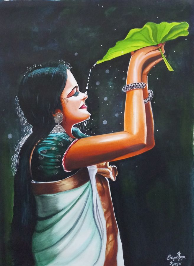 south indian lady with leaf, 18 x 24 inch, sandhya kumari,18x24inch,canvas,paintings,figurative paintings,flower paintings,modern art paintings,portrait paintings,photorealism,love paintings,kerala murals painting,paintings for dining room,paintings for living room,paintings for bedroom,paintings for office,paintings for kids room,paintings for hotel,paintings for kitchen,paintings for school,paintings for hospital,acrylic color,GAL0365931763