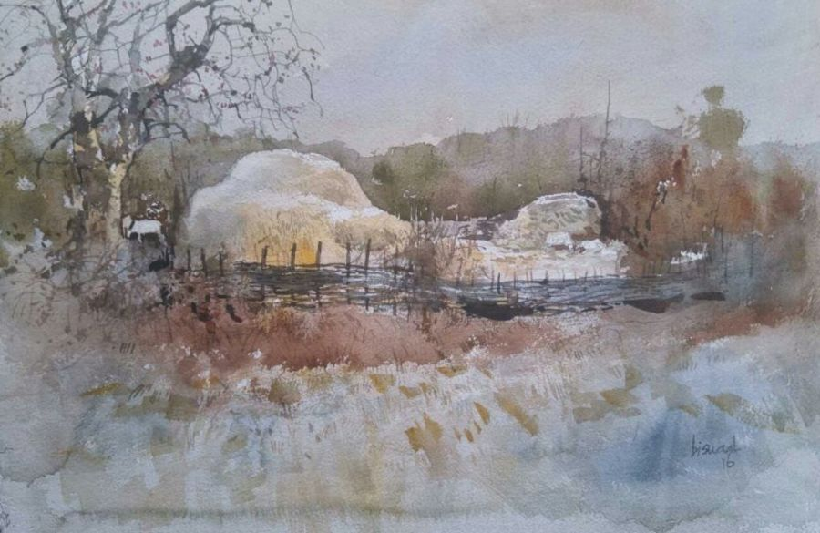 odhisa village, 19 x 14 inch, bijay  biswaal,cityscape paintings,nature paintings,paintings for living room,paper,watercolor,19x14inch,GAL011743177Nature,environment,Beauty,scenery,greenery