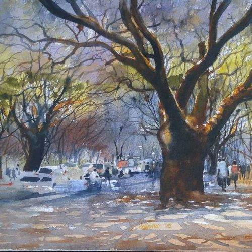 trees, 19 x 14 inch, bijay  biswaal,cityscape paintings,nature paintings,paintings for living room,paintings for office,paper,watercolor,19x14inch,GAL011743178Nature,environment,Beauty,scenery,greenery