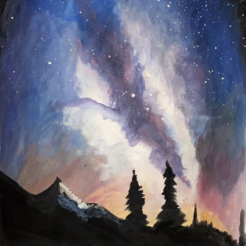 the mountain galaxy, 11 x 17 inch, tharun kumar  mallavarapu,11x17inch,paper,landscape paintings,watercolor,GAL02023331781