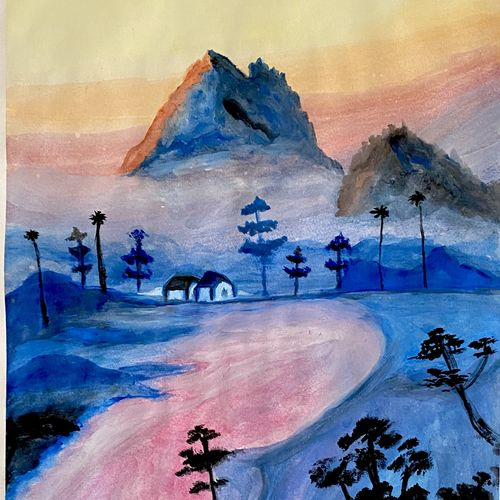 the mountain and the magic river, 11 x 17 inch, tharun kumar  mallavarapu,11x17inch,paper,paintings,landscape paintings,nature paintings | scenery paintings,paintings for dining room,paintings for living room,paintings for bedroom,paintings for office,paintings for bathroom,paintings for kids room,paintings for hotel,paintings for kitchen,paintings for school,paintings for hospital,watercolor,paper,GAL02023331786