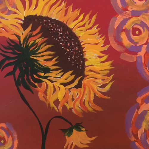 sunflower swirl , 16 x 20 inch, beverly  dsouza ,abstract paintings,paintings for living room,canvas,acrylic color,16x20inch,GAL0129318