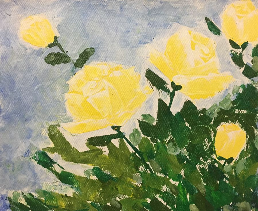 yellow roses, 10 x 8 inch, prajakta  thomas,flower paintings,paintings for dining room,canvas,acrylic color,10x8inch,GAL012103180