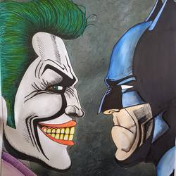 batman and joker, 12 x 17 inch, ayush dhanda,12x17inch,thick paper,modern art paintings,acrylic color,watercolor,GAL02024231803