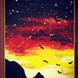 beautiful painting of sunset, 10 x 12 inch, smriti  dobhal,10x12inch,canvas,paintings,nature paintings | scenery paintings,paintings for dining room,paintings for living room,paintings for bedroom,paintings for office,paintings for kids room,paintings for hotel,oil color,GAL01907631807