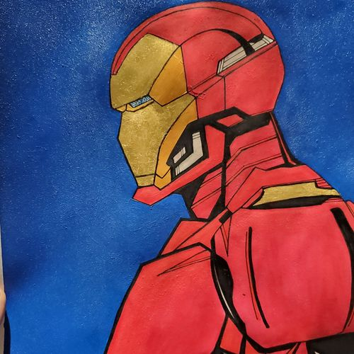 iron man, 12 x 17 inch, ayush dhanda,12x17inch,thick paper,modern art paintings,acrylic color,watercolor,GAL02024231808