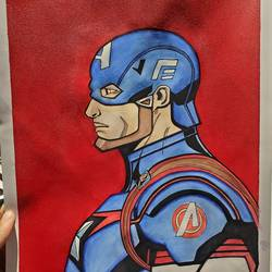 captan america, 12 x 17 inch, ayush dhanda,12x17inch,thick paper,modern art paintings,pop art paintings,acrylic color,watercolor,GAL02024231809