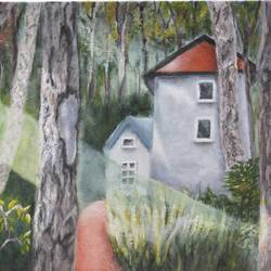 house in the woods, 16 x 12 inch, jitender dhir,16x12inch,canvas,landscape paintings,nature paintings | scenery paintings,paintings for dining room,paintings for living room,paintings for bedroom,paintings for hotel,paintings for dining room,paintings for living room,paintings for bedroom,paintings for hotel,acrylic color,GAL0566531814