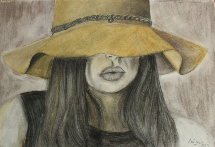 women with hat, 17 x 12 inch, alna poulose,17x12inch,drawing paper,drawings,figurative drawings,portrait drawings,paintings for dining room,paintings for living room,paintings for bedroom,paintings for office,paintings for hotel,charcoal,paper,GAL02025031815