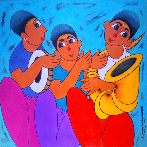 musical friends , 24 x 24 inch, dnyaneshwar  bembade ,24x24inch,canvas,paintings,figurative paintings,paintings for dining room,paintings for living room,paintings for office,paintings for kids room,paintings for hotel,paintings for school,paintings for hospital,acrylic color,GAL046431827