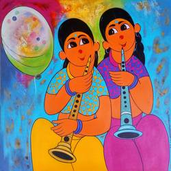 musical celibration, 24 x 24 inch, dnyaneshwar  bembade ,24x24inch,canvas,paintings,figurative paintings,paintings for dining room,paintings for living room,paintings for bedroom,paintings for office,paintings for kids room,paintings for hotel,acrylic color,GAL046431828