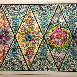 diamond mandalas, 12 x 16 inch, krithika pradeep,12x16inch,thick paper,drawings,folk drawings,paintings for dining room,paintings for living room,pen color,pencil color,GAL02026231833