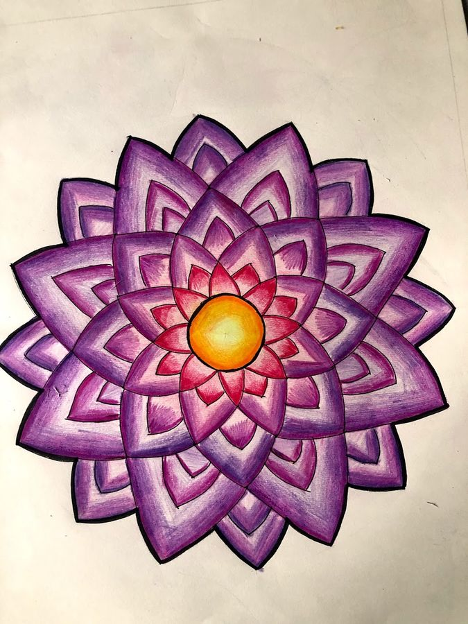 floral mandala, 9 x 9 inch, krithika pradeep,9x9inch,thick paper,drawings,folk drawings,paintings for living room,paintings for bedroom,paintings for kids room,pen color,pencil color,paper,GAL02026231835