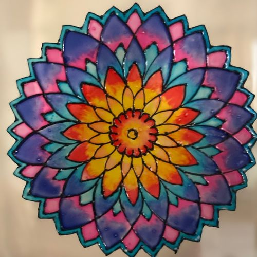 suncatcher mandala, 8 x 12 inch, krithika pradeep,8x12inch,ohp plastic sheets,paintings,flower paintings,paintings for dining room,paintings for living room,paintings for kids room,paintings for dining room,paintings for living room,paintings for kids room,glass,GAL02026231836