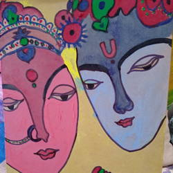 love of radha krishna, 12 x 16 inch, jyoti rajpal,12x16inch,wood board,paintings,religious paintings,wood,GAL02022431839