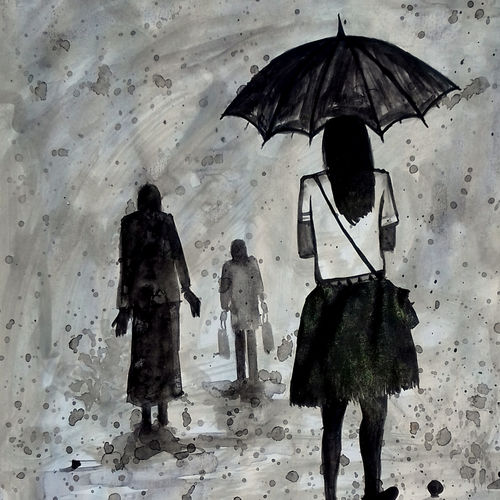 umbrella-with-girl-2017, 14 x 11 inch, girish chandra vidyaratna,landscape paintings,paintings for bedroom,paintings,paper,acrylic color,14x11inch,GAL0363184