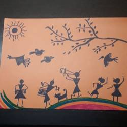 children playing, 8 x 12 inch, jyoti rajpal,8x12inch,paper,folk drawings,paper,GAL02022431840