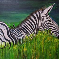zebra in the forest, 22 x 15 inch, promila singh,22x15inch,canvas,paintings,animal paintings,paintings for living room,acrylic color,GAL0823231841
