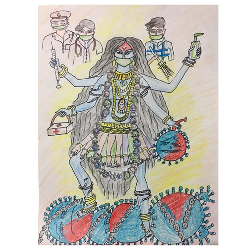 kali mataji fighting with coronavirus , 12 x 16 inch, pooja lokhande,12x16inch,drawing paper,drawings,paintings for school,conceptual drawings,figurative drawings,modern drawings,paintings for school,pencil color,paper,GAL0420531846