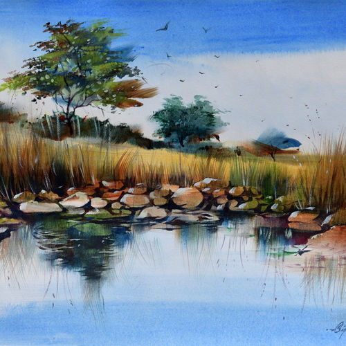 reflection 2, 15 x 10 inch, bijendra  pratap ,15x10inch,drawing paper,paintings,nature paintings | scenery paintings,acrylic color,GAL045331849