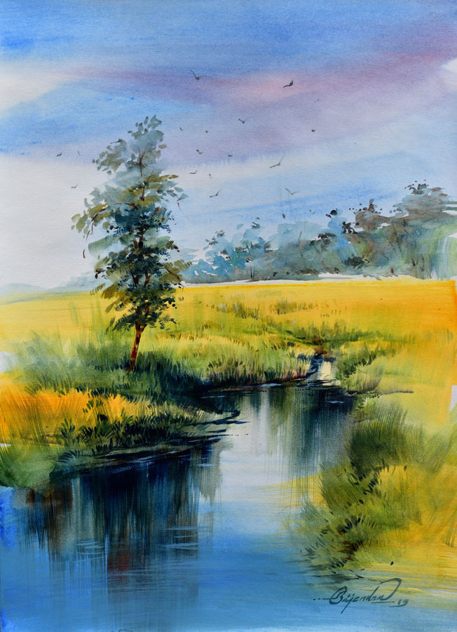 reflection 3, 15 x 10 inch, bijendra  pratap ,15x10inch,drawing paper,paintings,nature paintings | scenery paintings,acrylic color,GAL045331851