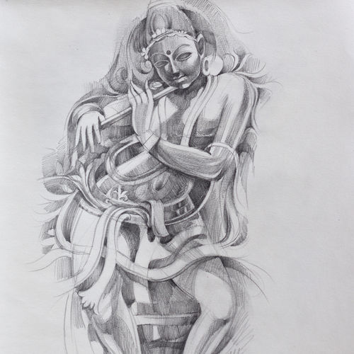 lord krishna , 12 x 15 inch, bijendra  pratap ,12x15inch,brazilian paper,drawings,fine art drawings,portrait drawings,realism drawings,paintings for dining room,paintings for living room,paintings for bedroom,paintings for kids room,paintings for hotel,paintings for kitchen,paintings for school,paintings for hospital,graphite pencil,GAL045331858