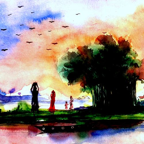 landscape 2015 - 01, 10 x 7 inch, girish chandra vidyaratna,landscape paintings,paintings for dining room,paintings,paper,watercolor,10x7inch,GAL0363186