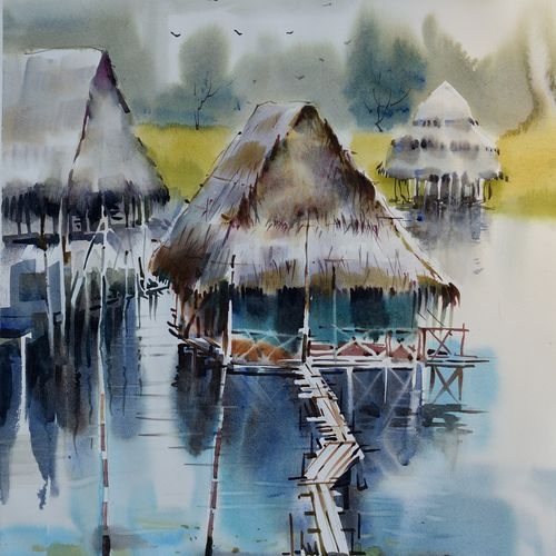 fishing village , 18 x 15 inch, bijendra  pratap ,18x15inch,brustro watercolor paper,paintings,nature paintings | scenery paintings,paintings for dining room,paintings for living room,paintings for bedroom,paintings for office,paintings for bathroom,paintings for kids room,paintings for hotel,paintings for school,paintings for hospital,watercolor,GAL045331862
