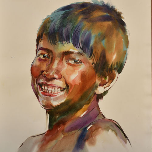 smiley 2, 15 x 22 inch, bijendra  pratap ,15x22inch,fabriano sheet,paintings,portrait paintings,expressionism paintings,portraiture,paintings for dining room,paintings for living room,paintings for bedroom,paintings for office,paintings for bathroom,paintings for kids room,paintings for kitchen,paintings for school,paintings for hospital,watercolor,GAL045331869