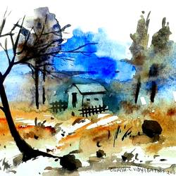 landscape - 2014, 7 x 6 inch, girish chandra vidyaratna,paintings for living room,landscape paintings,paintings,paper,watercolor,7x6inch,GAL0363187