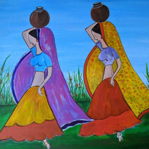 tribal women, 18 x 13 inch, promila singh,18x13inch,thick paper,paintings,figurative paintings,paintings for living room,paintings for living room,acrylic color,GAL0823231870