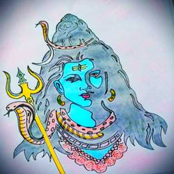 shivaa 1, 12 x 18 inch, chandiran s,12x18inch,thick paper,paintings,religious paintings,paintings for living room,paintings for office,paintings for hotel,paintings for school,pencil color,watercolor,GAL02024631877