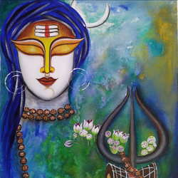 shiva, 18 x 20 inch, susmita mandal,18x20inch,canvas,paintings,conceptual paintings,paintings for living room,paintings for living room,acrylic color,GAL01940531881
