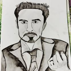 tony stark avengers iron man, 12 x 16 inch, subham roy,12x16inch,paper,paintings,portrait paintings,paintings for kids room,watercolor,GAL01992531883