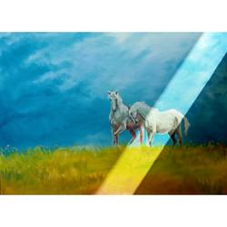 couple horse, 36 x 24 inch, jagdish more,36x24inch,canvas,paintings,wildlife paintings,animal paintings,realistic paintings,love paintings,horse paintings,paintings for living room,paintings for bedroom,paintings for hotel,paintings for hospital,oil color,GAL01216831884