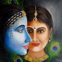 radha krishna, 15 x 20 inch, kumar ranadive,15x20inch,canvas,figurative paintings,radha krishna paintings,paintings for living room,paintings for living room,acrylic color,oil color,GAL01956931885