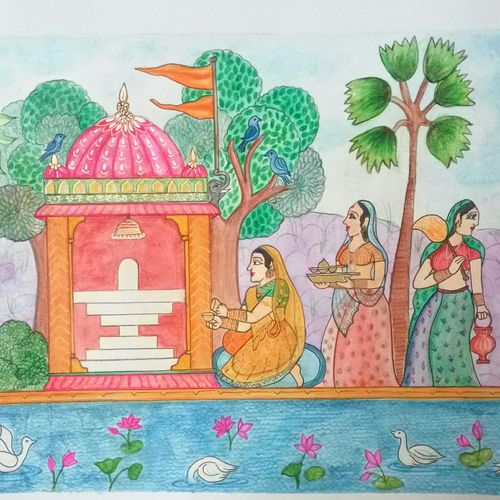 shiv pooja, 12 x 16 inch, deepti agrawal,12x16inch,ivory sheet,paintings,figurative paintings,cityscape paintings,landscape paintings,conceptual paintings,religious paintings,illustration paintings,lord shiva paintings,paintings for dining room,paintings for hospital,watercolor,GAL0596831886