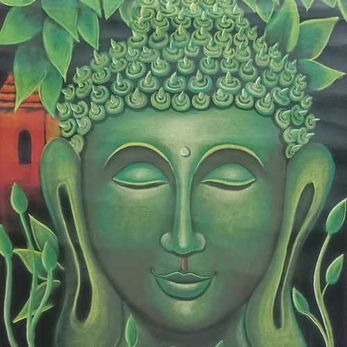 green buddha, 28 x 20 inch, anu radha,28x20inch,ivory sheet,buddha paintings,paintings for living room,paintings for bedroom,paintings for hotel,paintings for living room,paintings for bedroom,paintings for hotel,pastel color,GAL02033231898