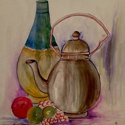 still life - 2014, 10 x 14 inch, girish chandra vidyaratna,modern art paintings,paintings for dining room,paper,watercolor,10x14inch,GAL0363190