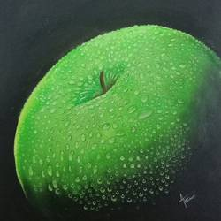 green apple, 10 x 10 inch, anu radha,10x10inch,canvas,paintings,still life paintings,paintings for dining room,paintings for living room,paintings for hotel,paintings for kitchen,acrylic color,GAL02033231900