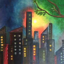 the city lights, 24 x 20 inch, shweta singh,24x20inch,canvas board,paintings,cityscape paintings,nature paintings | scenery paintings,paintings for dining room,paintings for living room,paintings for office,paintings for hotel,oil color,GAL02028431901