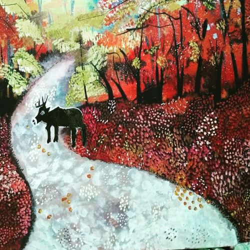 country road, 24 x 18 inch, rekha  kumari ,24x18inch,canvas,paintings,landscape paintings,paintings for bedroom,acrylic color,GAL046731930