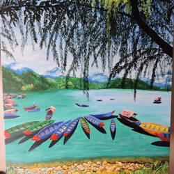 boat panorama, 20 x 16 inch, rossetta luther,20x16inch,canvas,paintings,landscape paintings,nature paintings | scenery paintings,impressionist paintings,realistic paintings,paintings for living room,paintings for bedroom,paintings for office,paintings for hotel,acrylic color,GAL02037031937